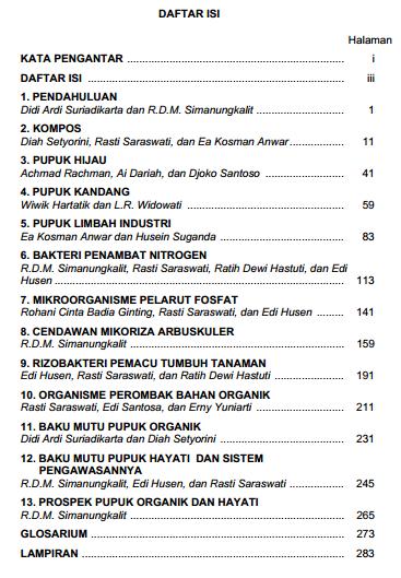 Daftar isi Pupuk Organik & Pupuk Hayati